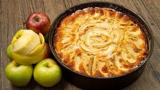 Пышная вкусная шарлотка с яблоками в духовке. Классический пошаговый видео рецепт