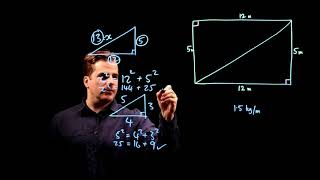 Pythagoras  5-12-13 Triangle. GCSE 9-1 Maths Edexcel June 2017 Paper 1H Q5