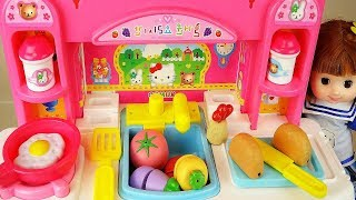 Baby doll Kitchen Hello Kitty cooking food toys baby doli play