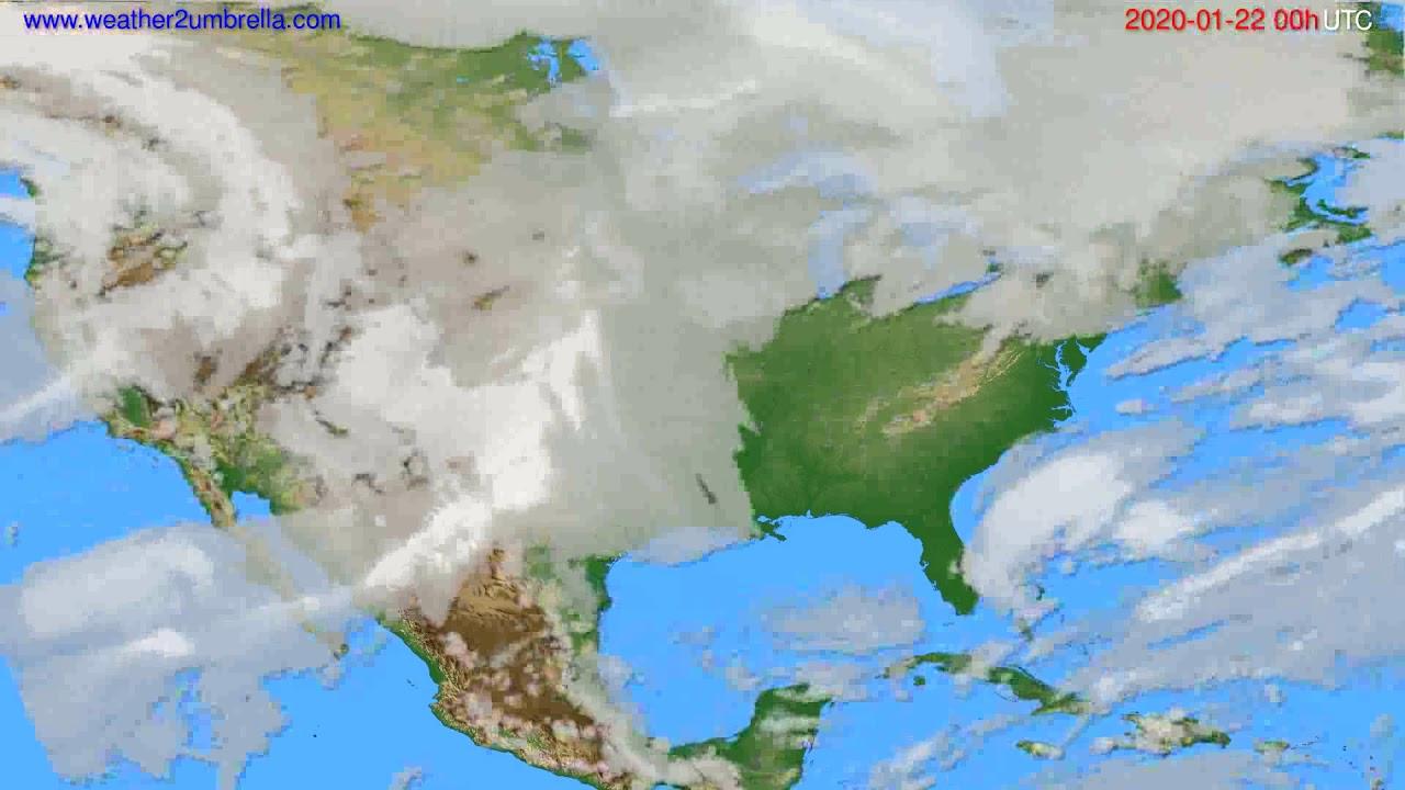 Cloud forecast USA & Canada // modelrun: 00h UTC 2020-01-21