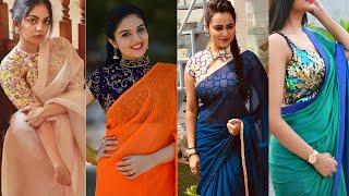 Plain Chiffon Saree With Designer Blouse Ideas ||Plain Sari को ऐसे Style करें ||Chiffon Sari Designs