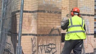 Graffiti Removal Using Dustless Blasting – During