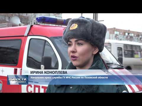 Новости Псков 11.02.2020 / 11 пожарных тушили горящие псковские гаражи и автомобиль