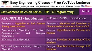 ITP - C Programming Lecture 1 - Algorithm, Flowchart with Examples - Hindi tutorial