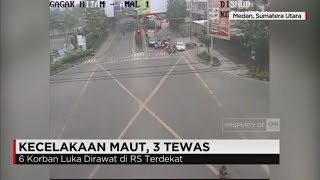 Kecelakaan Maut Terekam CCTV, Truk Tabrak Motor Di Lampu Merah Medan, 3 Tewas