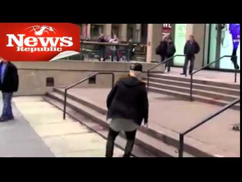 Justin Bieber takes skateboard tumble in NYC