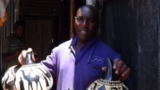 Mathare Man Making A Kill From Calabash Decoration