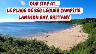 BRITTANY COAST CAMPSITE. LES PLAGES DE BEG LEGUER. LANNION BAY. FRANCE CAMPER VAN TRIP.
