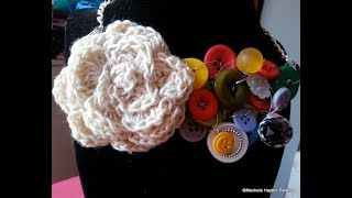 Handcrafted Button - Rose Bib Necklace - Statement Necklace