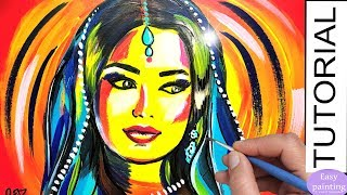 How To Paint HINDU WOMAN. Colorful Painting Tutorial Step By Step INDIA