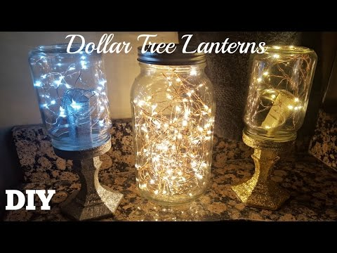 DIY DOLLAR TREE MASON JAR LANTERNS 2017 | Starry FAIRY STRING LIGHTS CRAFT