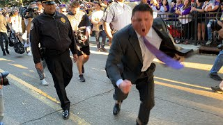 Raw video: Ed Orgeron goes nuts as LSU arrives for Alabama game