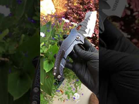 Borka Blade's/Ti2 Design Shylock Blue Techno Polished CPM 154 Satin Rock Grind 2018 Blade Show