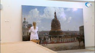 Специалисты завершают работу по реставрации картины «Открытие памятника Тысячелетие России в Новгороде»