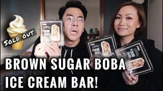 TRYING THE BROWN SUGAR BOBA ICE CREAM BAR!!!😱 (sold out)| ** OUR REACTION ** | Vlog #7