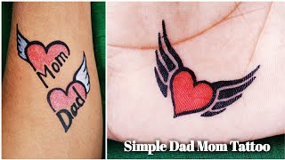 Beautiful Mom Dad And A Simple Fly Heart Tattoo