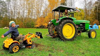 Toy Tractor Stuck! Tow Truck Towing Power Wheel Car for children