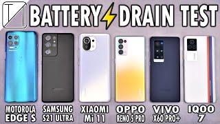 Motorola Edge S vs S21 Ultra / Mi 11 / Reno5 Pro / vivo X60 Pro+ / iQOO 7 Battery Life DRAIN Test!