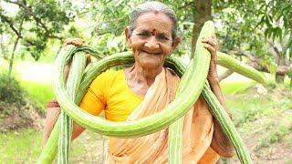 Snake Gourd Fry Recipe In Village Style by Grandma || Myna Street Food