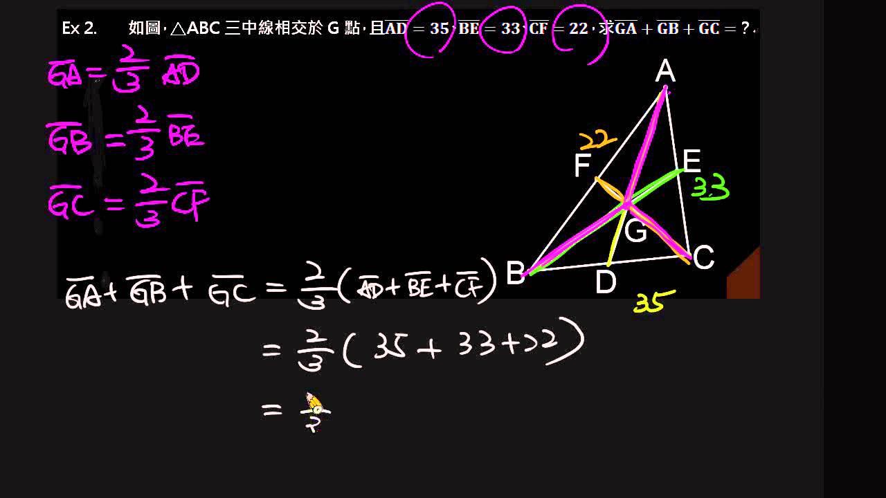 三角形的重心(例1~例3)   幾何與證明   均一教育平臺