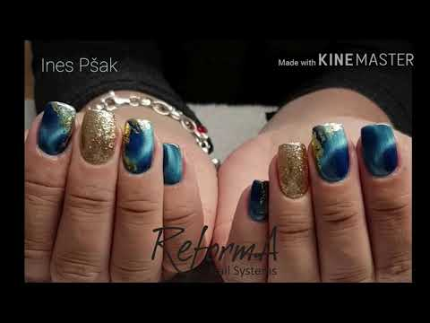 Cat Eye Gel Polish Nails With Glitter & Foil By Ines Pšak