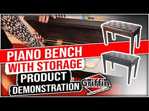 Black Leather Piano Bench Ebony Wood Double Duet Keyboard