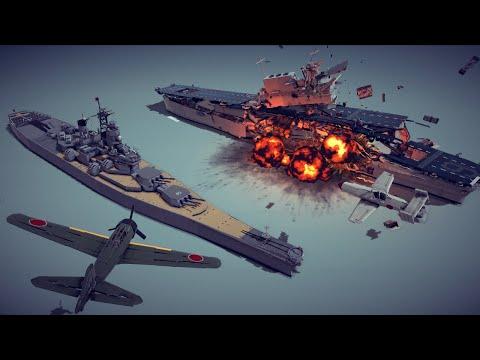 Kamikaze Planes vs Aircraft Carrier and Battleship + Other Awesome Destruction   Besiege