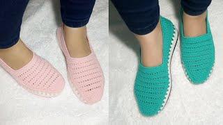 شوز كروشيه صيفي سهله How To Make Crochet Shoes Tığ Işi Ayakkabı Zapatos De Ganchillo