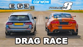 [carwow] AMG E63 S v Jaguar Project 8: DRAG RACE