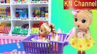 KN Channel Đồ chơi trẻ em 2 BÚP BÊ ĐẨY XE TRONG SIÊU THỊ CỦA BÉ NA