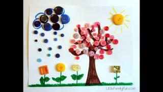 Пуговичные коллажи. Идеи для творчества. Деревья. Hande-Made. Interesting Trees