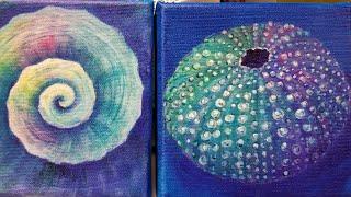 Colorful Sea Urchin Acrylic Painting Tutorial Small Canvas Series | Kholo.pk