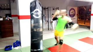 Kick boxing heavy bag workout
