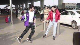 Deepika Padukone's CRAZZY Surprise Dancing On Dheeme Dheeme Song Hook Step wid Kartik Aryan @Airport