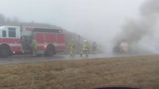 164 Truck Fire Big Bend , WI 2/7/17 Video 1