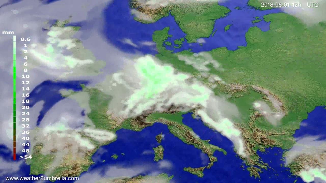 Precipitation forecast Europe 2018-05-30
