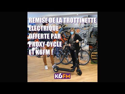Remise de la trottinette électrique offerte par Proxy Cycle et K6FM !