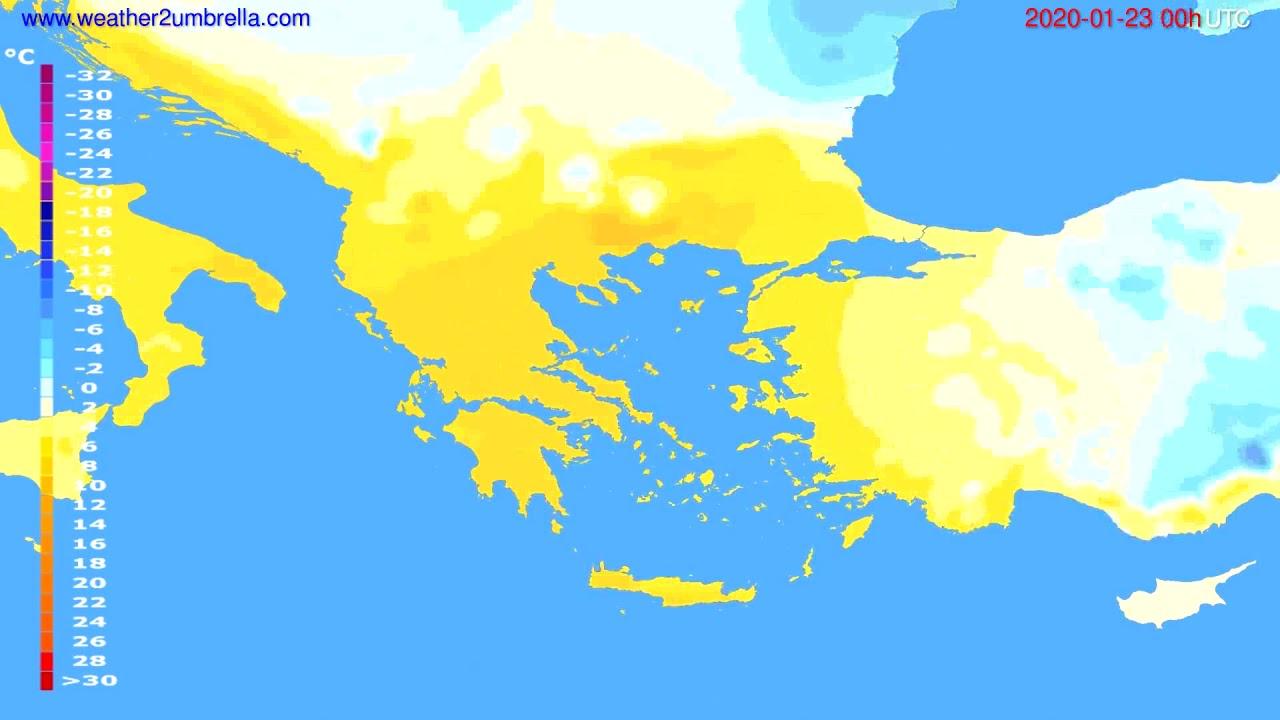 Temperature forecast Greece // modelrun: 00h UTC 2020-01-22