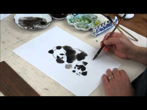 Panda Bears - How to Paint Animals in Sumi and Watercolor Tutorial(HD)