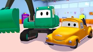 Tom The Tow Truck and the Excavator in Car City   Trucks cartoon for kids