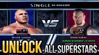 WWE Smackdown! Here Come The Pain - How To Unlock All Superstars/Characters PS2 Emulator [PCSX2]