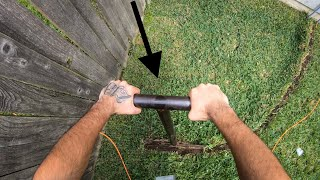 HOW TO BURY CABLES WITH CONDUIT WITHOUT RUINING GRASS - in less then 30 minutes