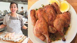 Carla Makes Brick Chicken in a Cast-Iron Skillet   Bon Appetit