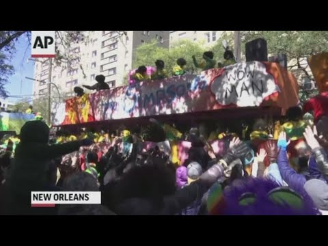 "Dressed up and ready for fun, revelers are celebrating Mardi Gras in New Orleans, but many are protesting the ""no-call"" given to Saints against the LA Rams during the NFC Championship game. (March 5)"