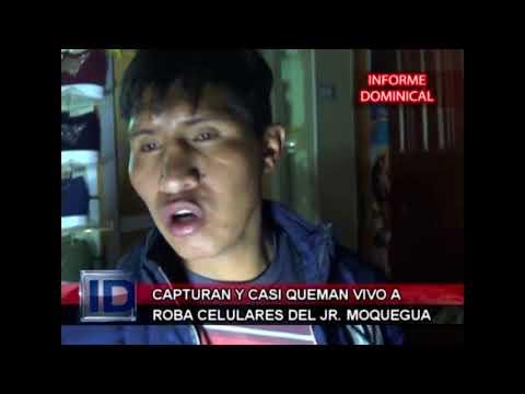 CAPTURAN Y CASI QUEMAN VIVO A ROBA CELULARES EN EL JR. MOQUEGUA JULIACA