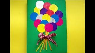 Как сделать открытку маме на день рождения своими руками. Аппликация. Поделка.