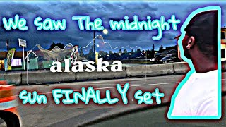 We saw the midnight sun FINALLY set in Fairbanks Alaska
