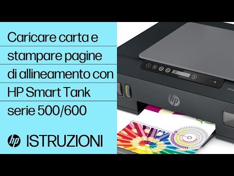 Caricamento della carta e stampa di una pagina di allineamento nelle stampanti HP Smart Tank serie 500 e 600