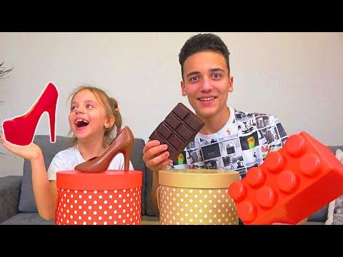 Шоколадное против Настоящего ЧЕЛЛЕНДЖ Настя и Саша придумывают ЗАДАНИЯ родителям Mи литтле Настя