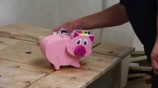 preview picture of video 'Sparferkel - Spardose aus Holz zum Selberbauen'